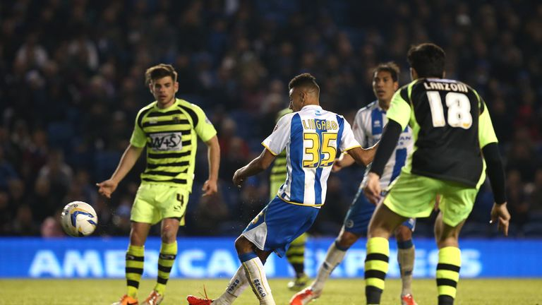 Lingard scoring for Brighton against Yeovil, one of four strikes for the club