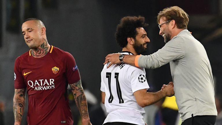 Jurgen Klopp congratulates Mohamed Salah