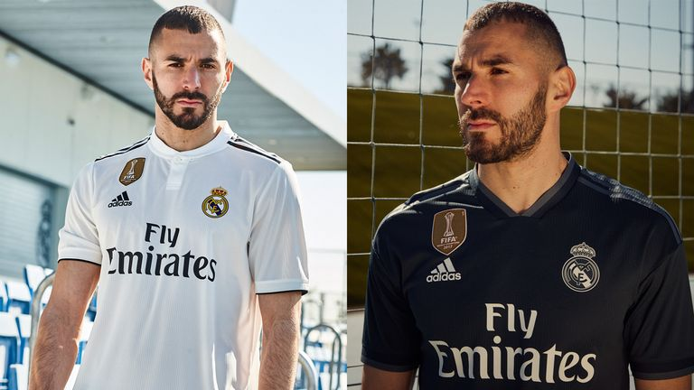 Karim Benzema models Real Madrid shirts for the 2018 19 season (credit   Adidas aebb173d3