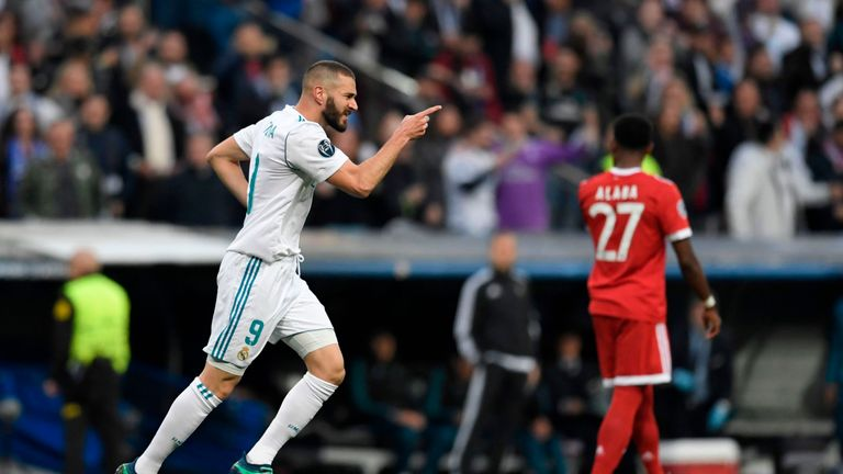 Benzema celebrates his leveller on the night