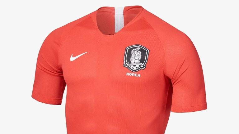 South Korea will wear a figure-hugging plain red home shirt during the tournament