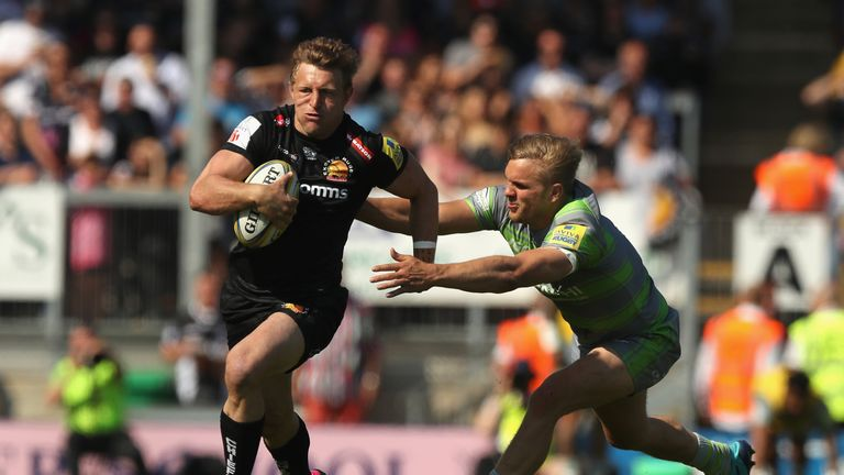 Lachie Turner on the break for Exeter