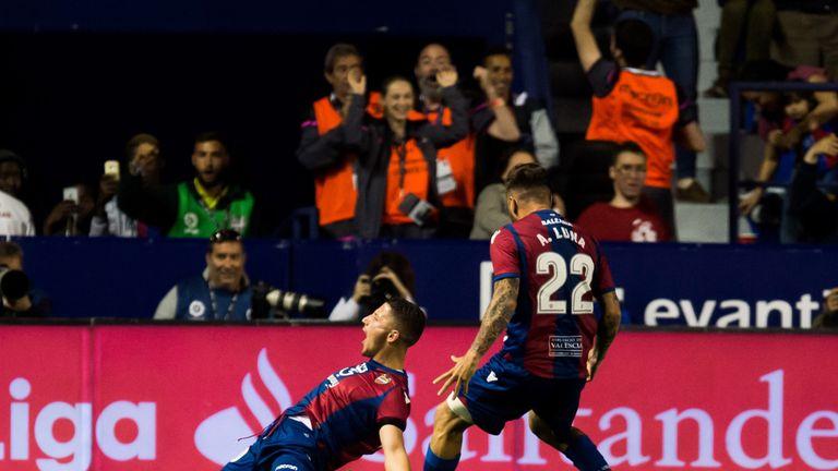 Enis Bardhi celebrates making it 3-1 on a pulsating night at the Estadi Ciutat de València