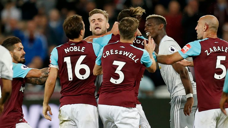 Luke Shaw and Andy Carroll also became involved as a melee ensued