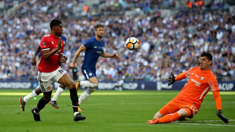 Manchester United's Marcus Rashford (left) has a chance on goal during the Emirates FA Cup Final against Chelsea at Wembley Stadium