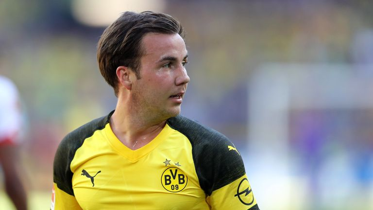 Mario Gotze sports the new kit during the final home game of the season