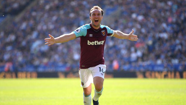 West Ham's Mark Noble celebrates putting West Ham 2-0 up against Leicester