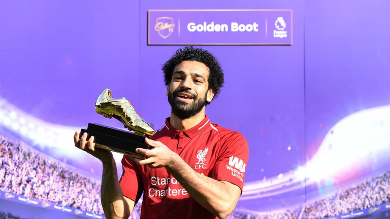 Mohamed Salah poses with his Premier League Golden Boot Award after the Premier League match against Brighton
