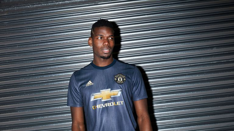 Paul Pogba models Manchester United's new third kit