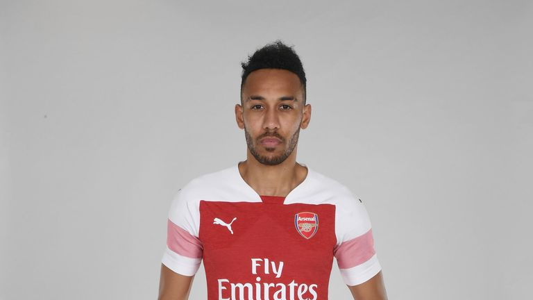 Aubameyang in the new Arsenal home kit for the 2018/19 season