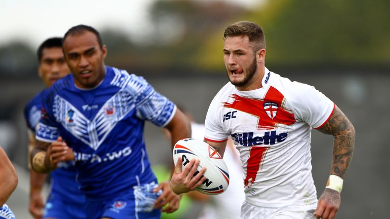 Zak Hardaker in action for England Knights against Samoa in 2013