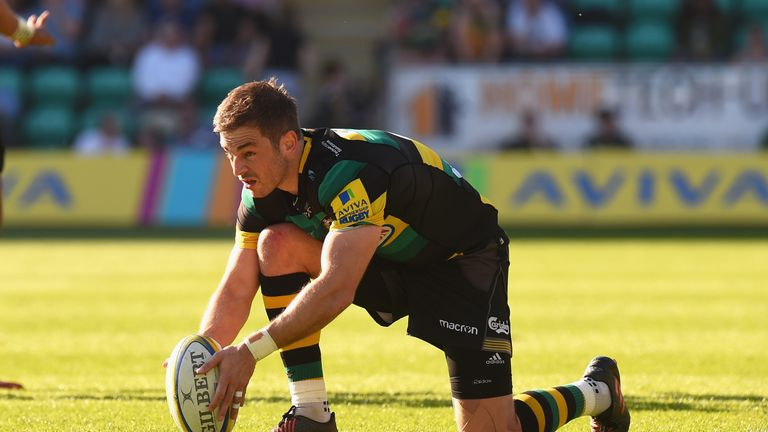 Stephen Myler lines up his last kick as a Northampton Saints player