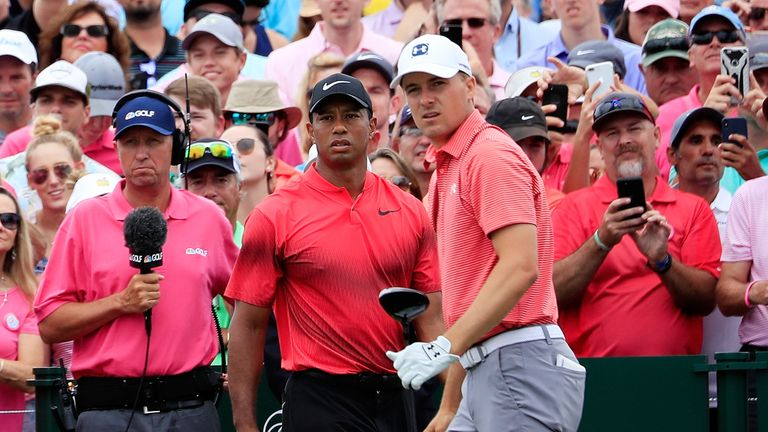 Woods played the final round with Spieth, who ran up an eight at the final hole