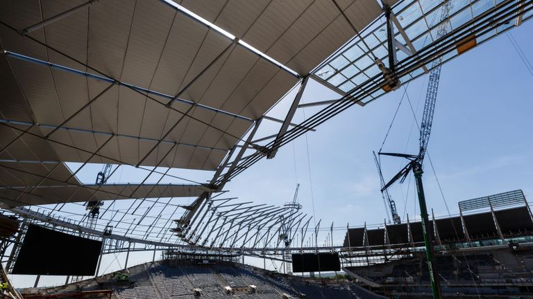 Tottenham have begun installing the roof on their new 62,000-seater stadium