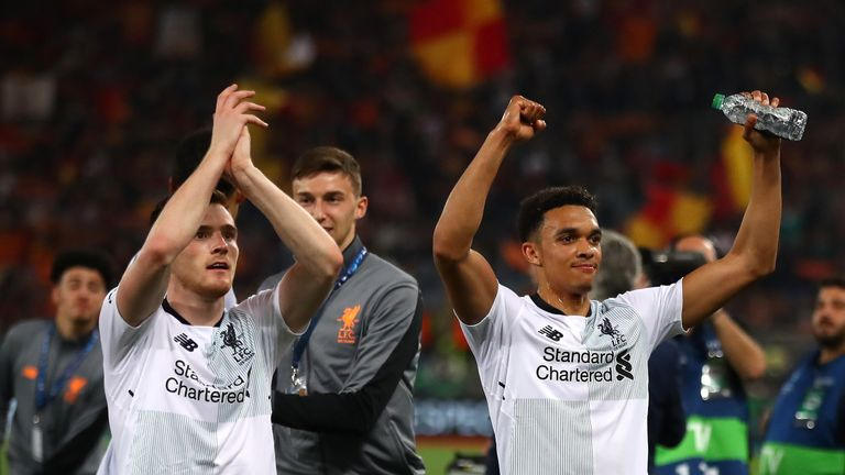 Alexander-Arnold, right, celebrates Liverpool's semi-final victory over Roma