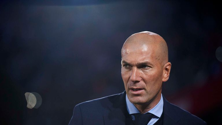 Zinedine Zidane prior to the La Liga match between Sevilla and Real Madrid