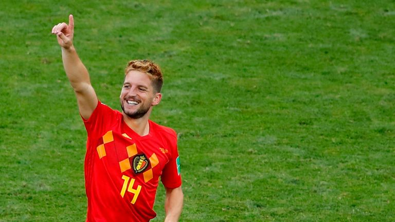 Dries Mertens celebrates his opening goal