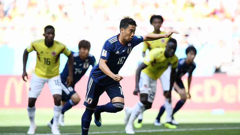 Shinji Kagawa slots home the opener after six minutes in Saransk