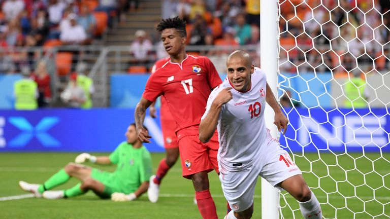 Wahbi Khazri of Tunisia celebrates after scoring the second goal