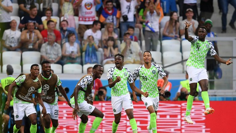 Nigeria's Ahmed Musa celebrates with team-mates after scoring his team's first goal