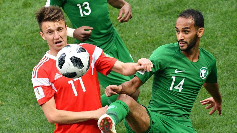 Aleksandr Golovin (L) impressed in Russia's World Cup opener against Saudi Arabia