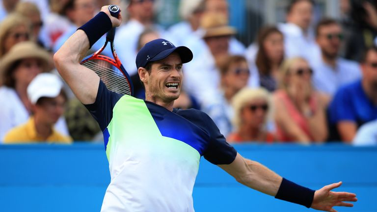 Andy Murray of Great Britain in action during Day 2 of the Fever-Tree Championships at Queens Club on June 19, 2018 in London, United Kingdom.