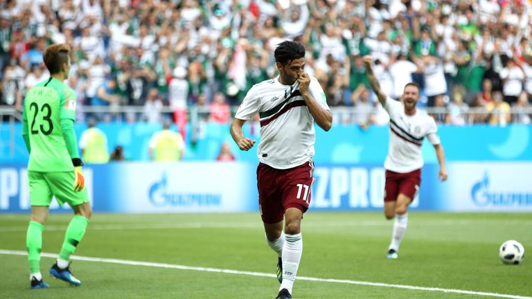 Vela celebrates as Mexico take a 1-0 lead