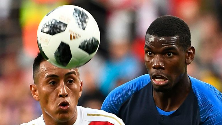Christian Cueva and Paul Pogba in action at the Ekaterinburg Arena