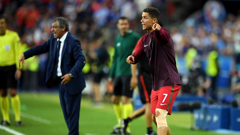 Ronaldo famously barked orders from the touchline after injury forced him off in the Euro 2016 final