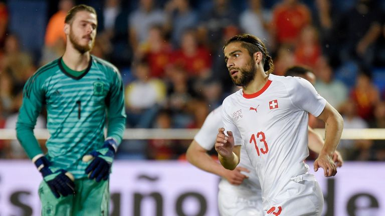 David de Gea looks on after gifting Ricardo Rodriguez (right) Switzerland's equaliser