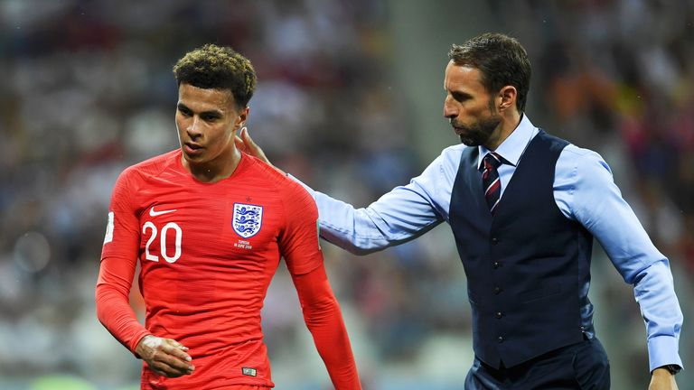 Dele Alli is substituted during the 2018 FIFA World Cup, group G match between Tunisia and England at Volgograd Arena