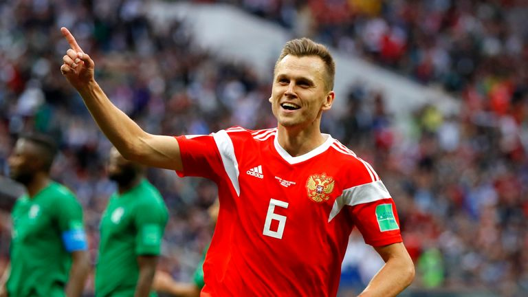 Denis Cheryshev celebrates scoring Russia's fourth in the 5-0 win over Saudi Arabia
