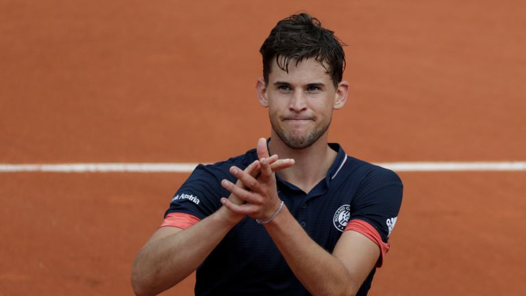 Thiem takes on unseeded Marco Cecchinato of Italy for a place in Sunday's final