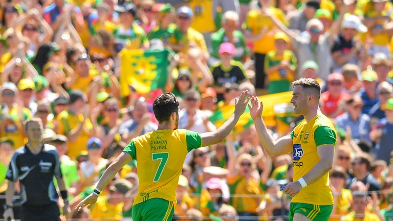 Ryan McHugh of Donegal celebrates with Paddy McBrearty