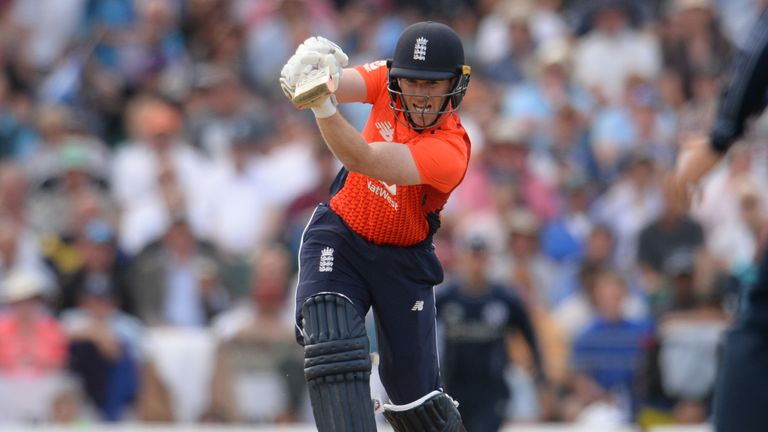EDINBURGH, SCOTLAND - JUNE 10 : Eoin Morgan of England hits out during the One-Day International match  between Scotland and England at Grange cricket club ground on June 10, 2018 in Edinburgh, Scotland. (Photo by Philip Brown/Getty Images) *** Local Caption *** Eoin Morgan