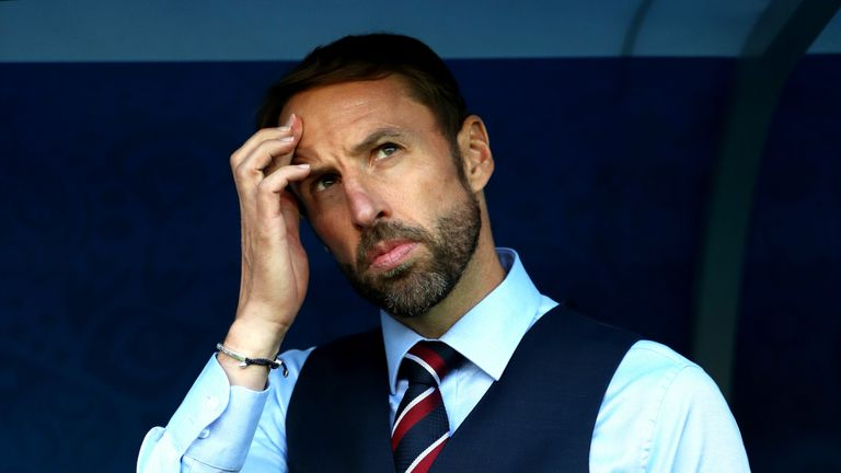 Gareth Southgate during the 2018 FIFA World Cup, group G match between England and Belgium