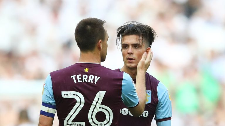 Grealish being consoled by John Terry following last year's play-off final defeat
