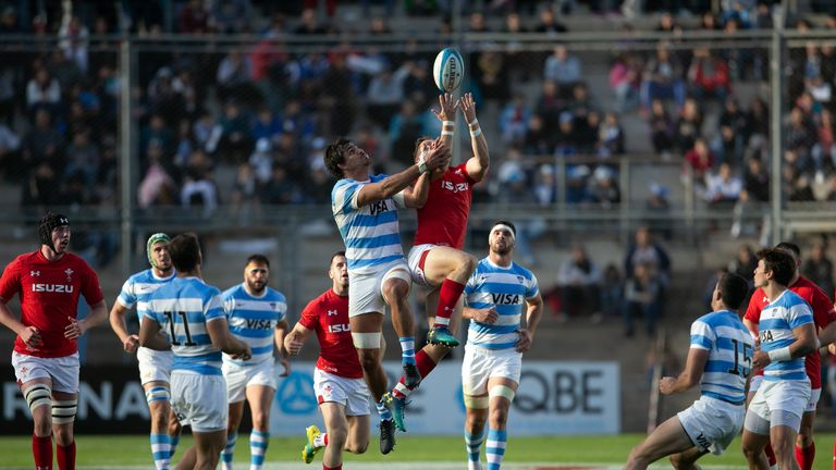 Hallam Amos Competes For A High Ball Against Argentina