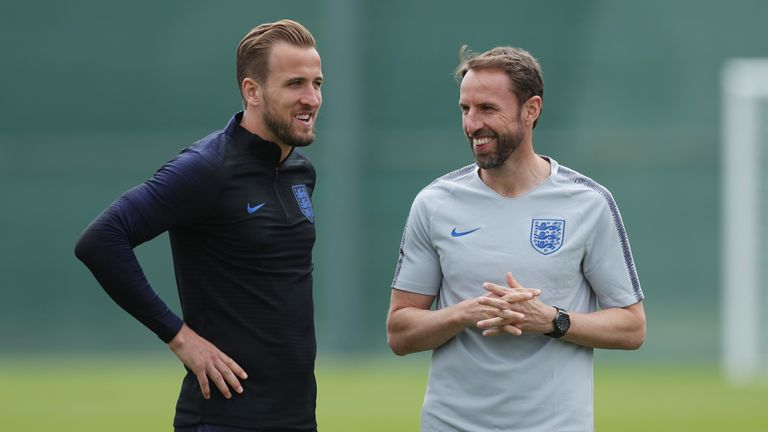 Gareth Southgate and Harry Kane appear relaxed during training
