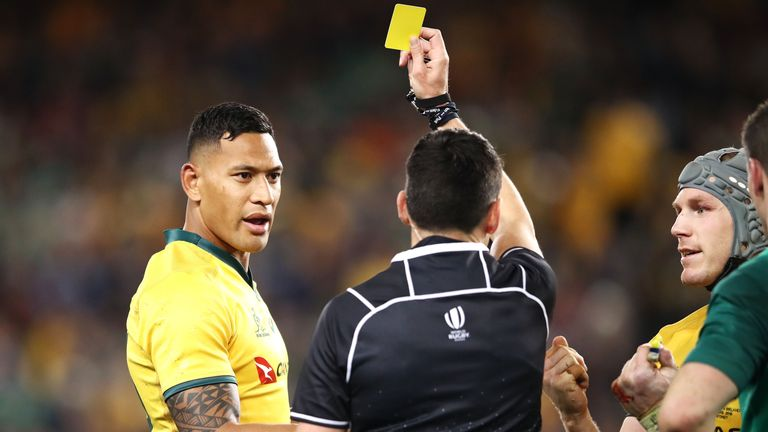 Israel Folau was sent to the sin-bin for 10 minutes when he took O'Mahony out in air