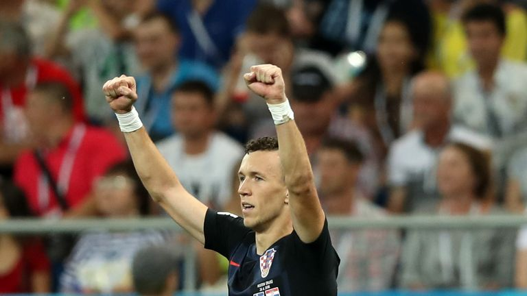 Ivan Perisic celebrates scoring Croatia's late second goal