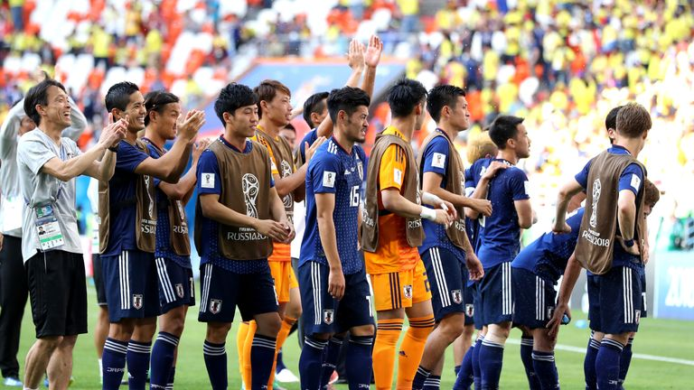 Japan celebrate their first World Cup victory on European soil