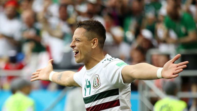 Javier Hernandez celebrates after reaching 50 goals for Mexico