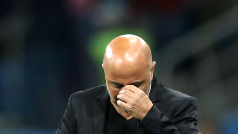 Jorge Sampaoli apologised to supporters after the defeat to Croatia