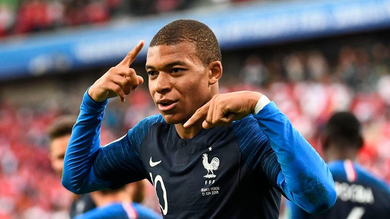 Kylian Mbappe celebrates his goal in the first-half