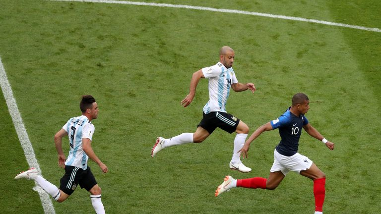 Kylian Mbappe's pace caused problems for Argentina and a spectacular sprint won an early penalty
