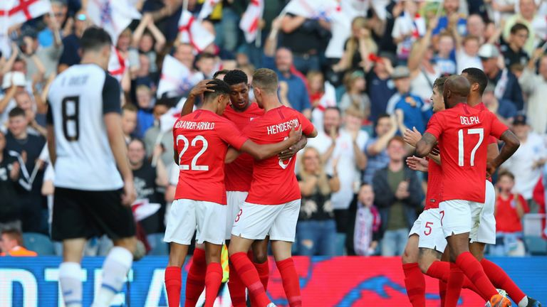 Marcus Rashford celebrates scoring against Costa Rica