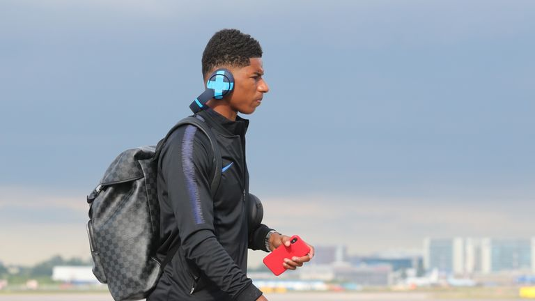 Rashford and the England team have now arrived at their World Cup base in Repino near St Petersburg