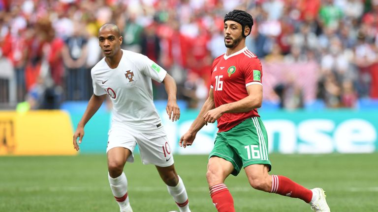 Nordin Amrabat began the game against Portugal wearing protective headgear