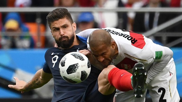 Olivier Giroud played his part in France's 1-0 win over Peru on his return
